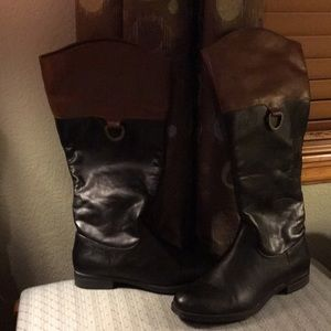 Brn/blk faux leather wide calf riding boots sz 7